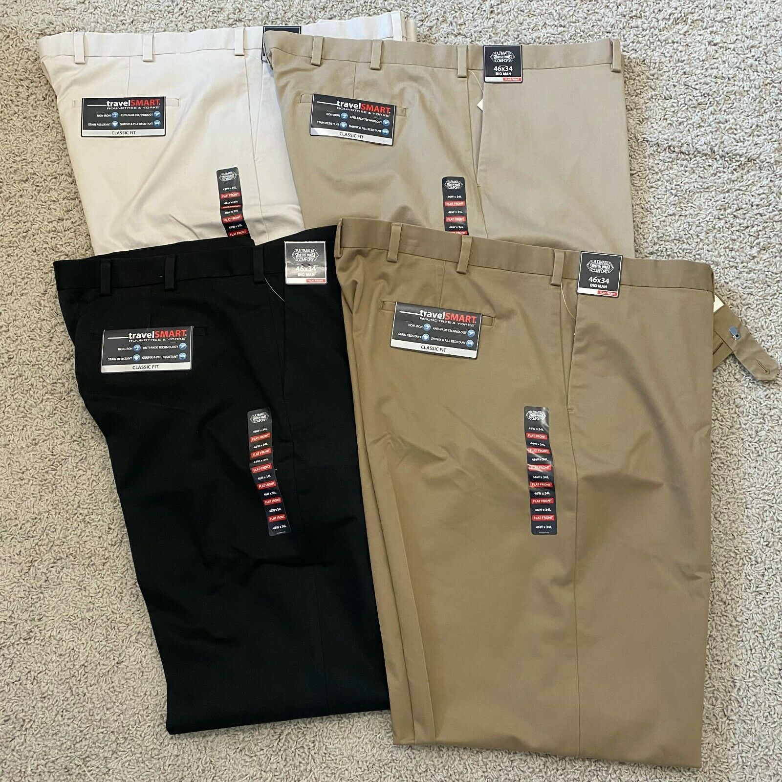 Roundtree & Yorke Mens Travel Smart Khaki Pants Chinos Trousers Clothing, Shoes & Accessories
