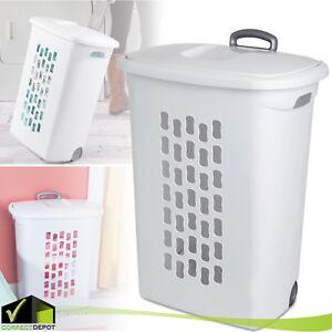 Sterilite Wheeled Laundry Hamper Portable Rolling Basket Organizer Clothes Bin
