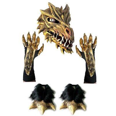Deluxe Golden Dragon Gold Kostüm Cosplay Satz Latex Maske Handschuhe & Fuß