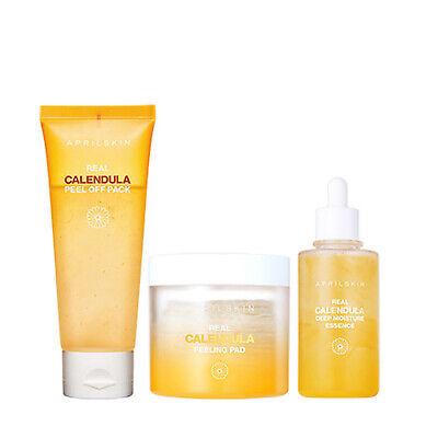April Skin Real Calendula Skincare Trio Essence Peel Off Pack Peeling Pad