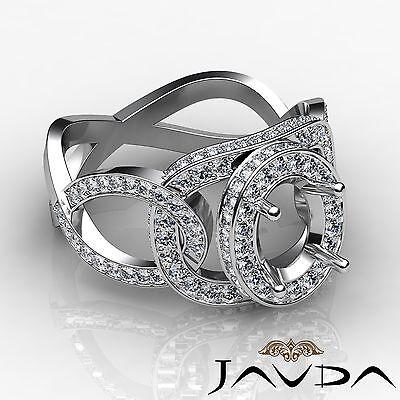 1.33Ct Halo Pave Platinum Curve Shank Oval Semi Mount Diamond Engagement Ring