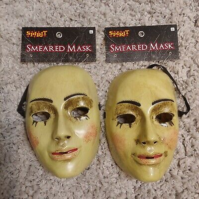 Smeared Mask LOT OF 2 MASKS NEW Halloween New With Tags Spirit Halloween Scary (Spirit Halloween Masks)