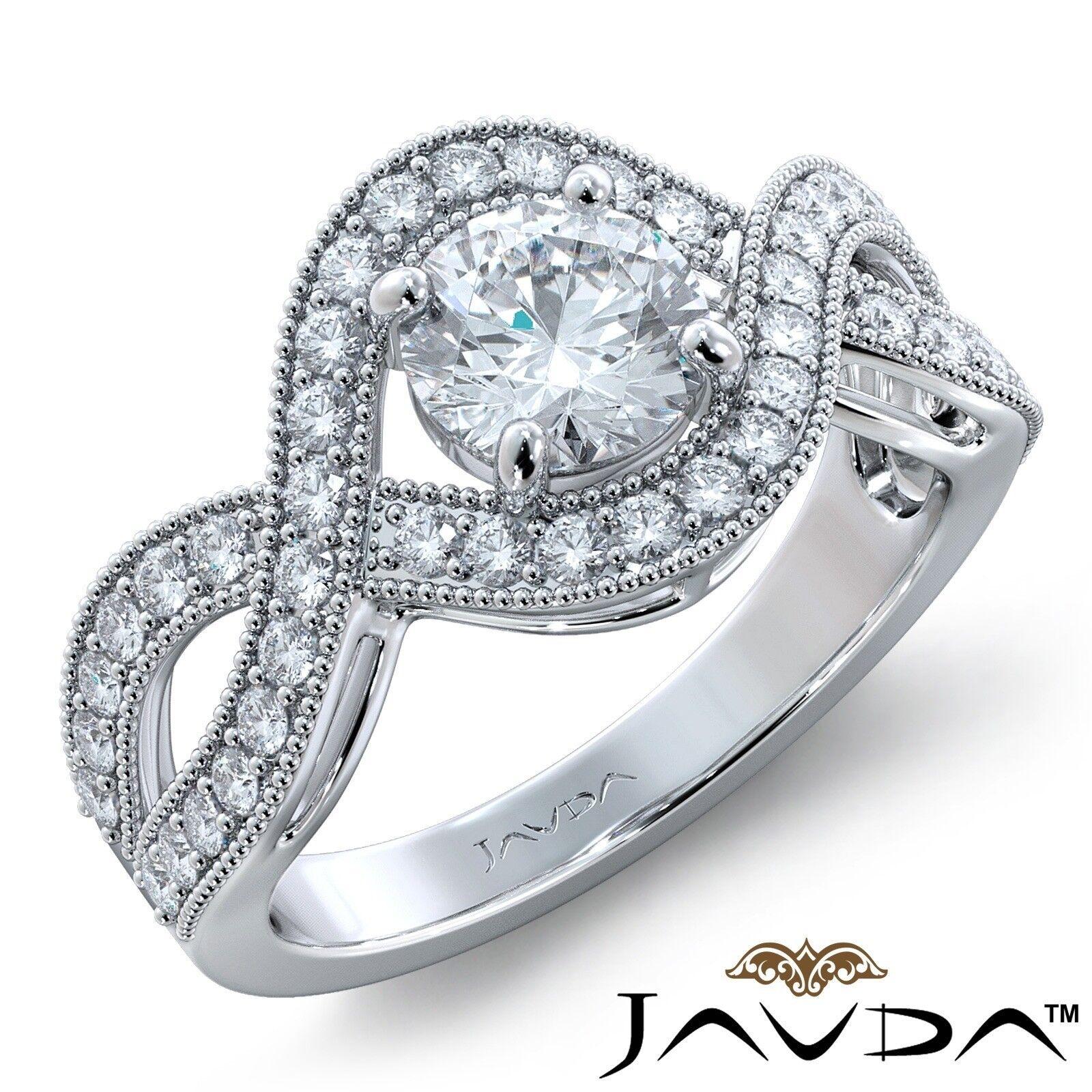 2.45ctw Milgrain Halo Side Stone Round Diamond Engagement Ring GIA E-SI1 W Gold