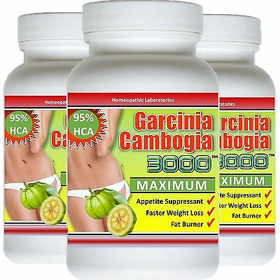 3 X Bottles Garcinia Cambogia Extract 95  Hca Natural  Weight Loss Diet Fat Burn