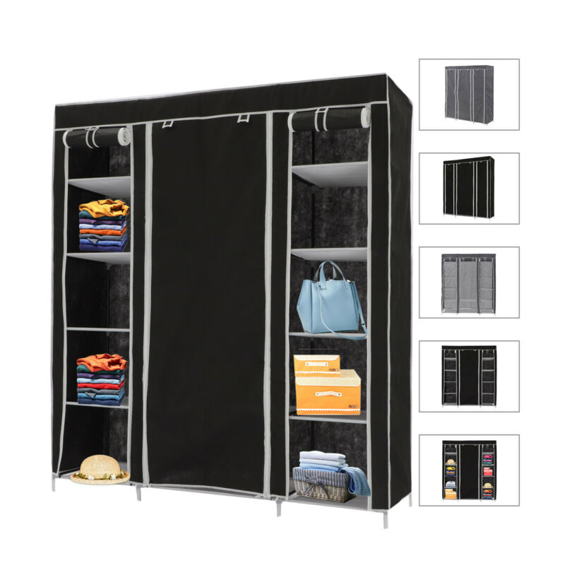 Faltbarer Stoff-Kleiderschrank mit Vliesbezug, 175x150x45 cm, 2 Farben DE