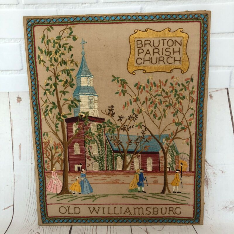 Old Williamsburg Needlework Crewel Completed Cross Stitch Bruton Parish Church