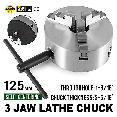 5 3 Jaw Scroll Lathe Metal Chuck Self-centering Semi-steel Plain Back 125mm