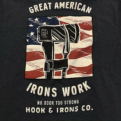 Great American Iron Works Hooks Irons Co. Cotton T-Shirt Mens Large Iron Works T-shirt