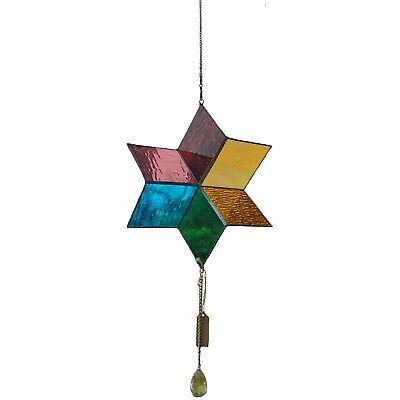 Bieye WS01 Tiffany Style Stained Glass Rainbow Wind Spinner Windmill, 11.8