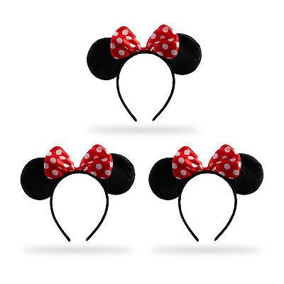 3 x Haarreif Maus Kopfschmuck Ohrenhaarreif Schleife Mäuseohren Kostüm Fasching (Maus Kopf Kostüm)