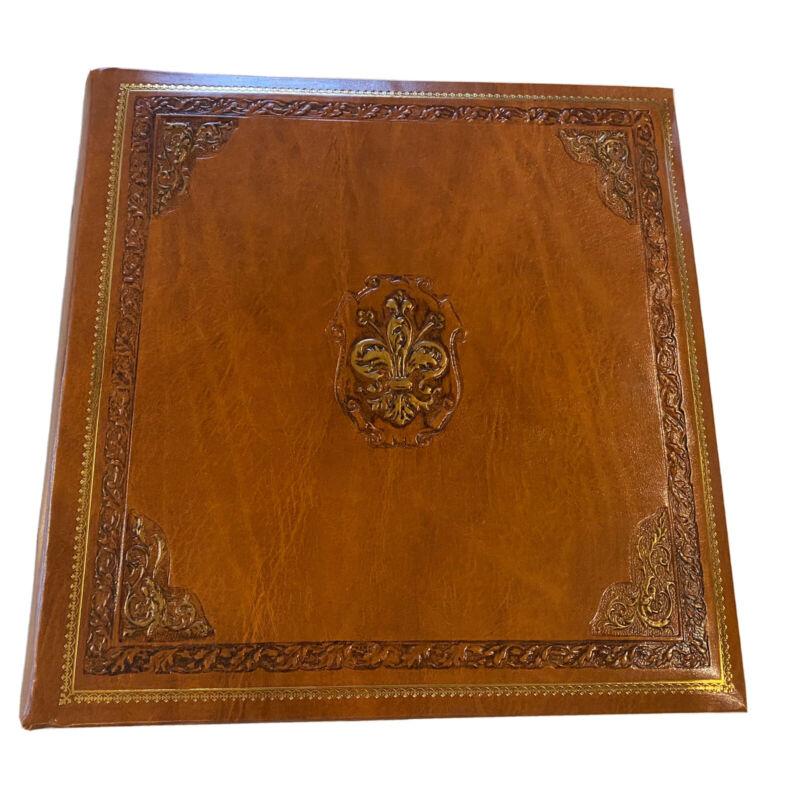 """Cuoreria Fiorentina Embossed Italian Leather Bookshelf 14"""" X 14""""  Photo Album"""