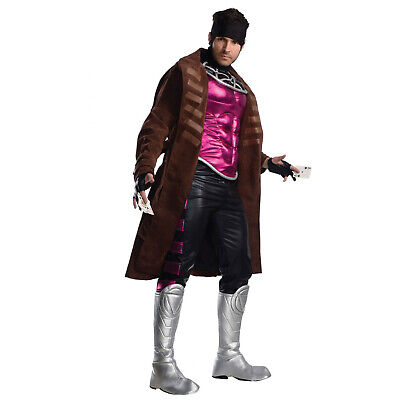 Gambit Costume Halloween (Adult Mens DELUXE Marvel Gambit XMen Jacket Muscle Chest Pants Halloween)