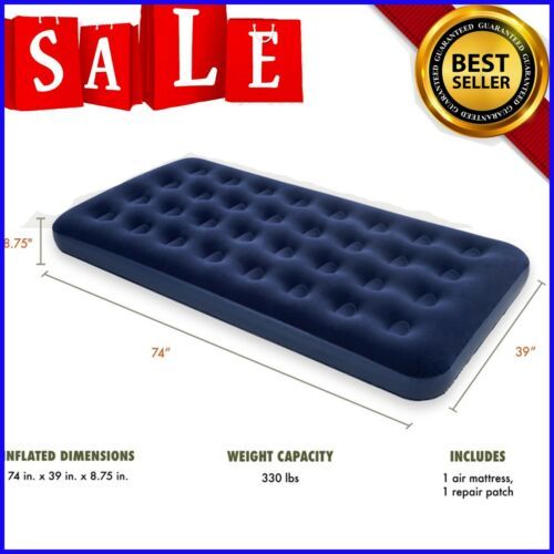 """Camping Mattress Inflatable Airbed Air Sleeping Twin Size 8.75""""Downy Blow-Up Bed"""
