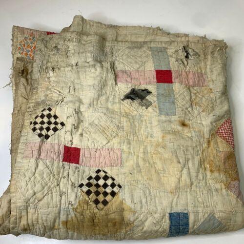 vintage hand sewn quilt coverlet white checkered cross pattern handmade blanket