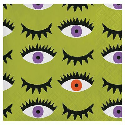 New 18 Counts Spritz Halloween Monsters Beverage Napkin Size  9 4 5  X 9 3 4