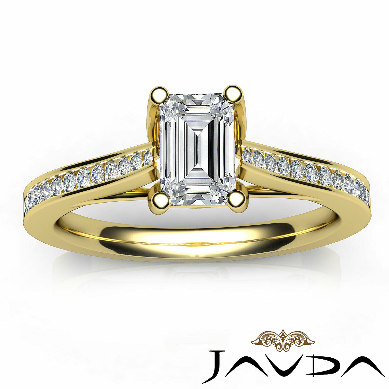 1Ctw Channel Set Emerald Diamond Engagement Her Ring Band GIA H-VVS1 White Gold 11