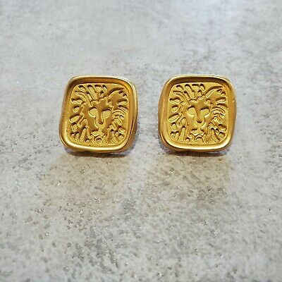 EUC Anne Klein Vintage Earrings Matte Gold Lion Head Logo Square Stud Classic