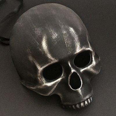 Halloween Black Silver Skeleton Half Skull Face  Ball Masquerade Mask - Halloween Half Skull