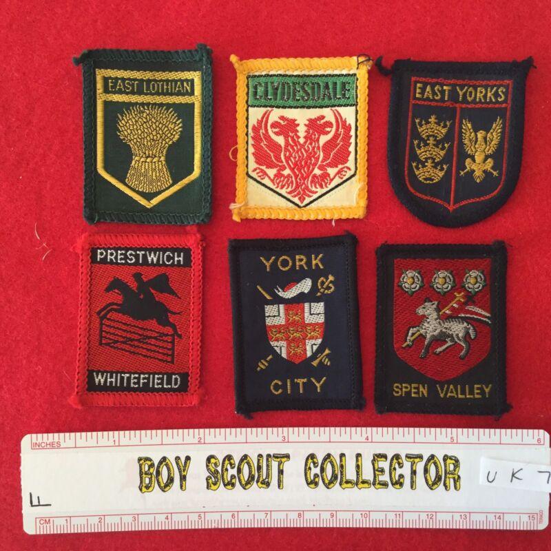 Boy Scout UK British District Badges Six Different Lot # UK7