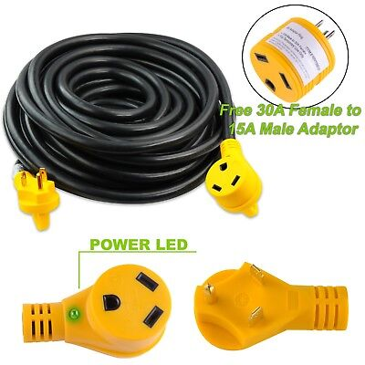50 Foot 30 Amp RV Extension Power Cord 100% Copper Wires Trailer Motorhome