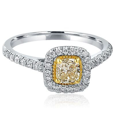 Delicate Cushion Cut 0.83 Ct Yellow Diamond Double Halo Ring Engagement 14k Gold