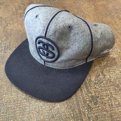 Stussy Wool Blend Snapback Hat Cap Gray Navy Spell Out logo striped Satin brim Satin Wool Cap
