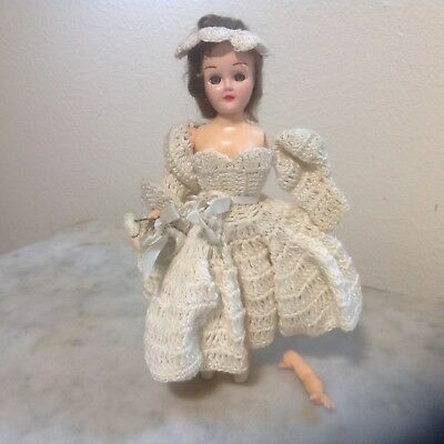 Two Vintage Dolls - Circa 1940's - One In Beautiful Hand Crochet Dress