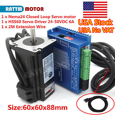 At Usa Nema24 3n.m Closed Loop Servo Motor 88mmservo Driver2m Cable Cnc Kit