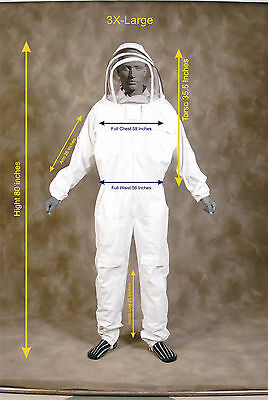 Professional Heavy Duty Bee Suit Beekeeping Supply Suit W Gloves - 3x Large