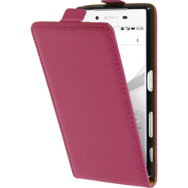 Artificial Leather Case Sony Xperia Z5 - Flip-Case hot pink + protective foils