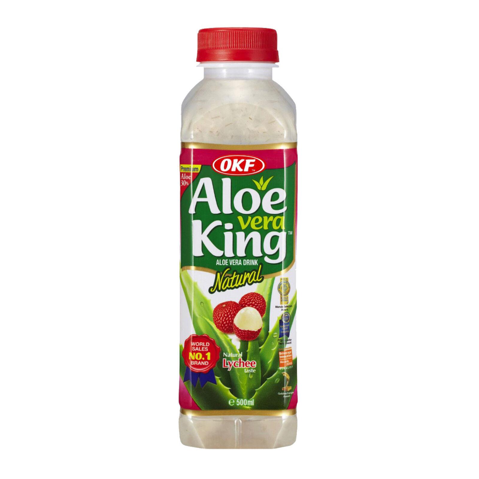 6 x 500ml OKF Aloe Vera King Original Litschi Aloe Vera Getränk Drink 3 L