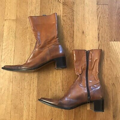 ROCCO P. Leather Ankle Boots Brown Zip Women's shoes Euro 37.5 US 7