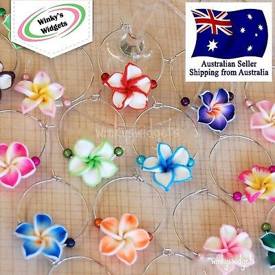 10 x Frangipani Wine Glass Charms - party gift idea decoration Hawaiian tropical - Hawaiian Decorating Ideas