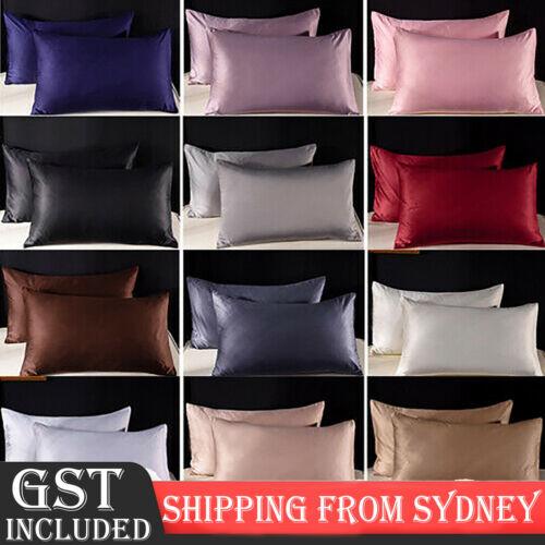 Home Decoration - 2X Satin Silk Pillow Cases Cushion Cover Pillowcase Home Decor Luxury Bedding AU