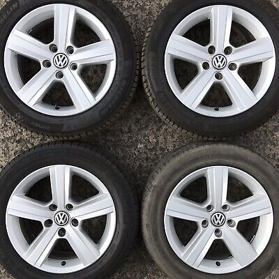 "4 Genuine VW Golf Mk7 Dover 16"" Alloy Wheels Michelin Tyres 205 55 Caddy 5 spoke"