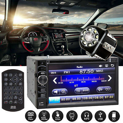 Car Stereo CD DVD Aux USB TV Touchscreen 2DIN Player HeadUnit + Camera For Honda