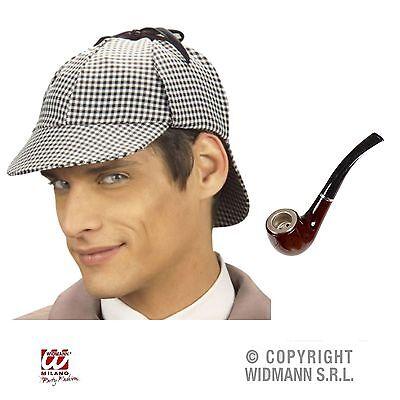 Sherlock Holmes Hut Deerstalker mit realistischer Pfeife Detektiv Kostüm - Sherlock Holmes Hut Kostüm
