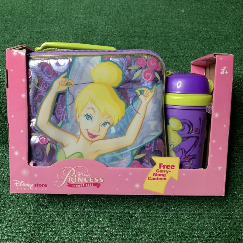 Vintage Disney Store Exclusive Tinkerbell Peter Pan Lunch Box Tote Soft Canteen