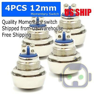 4pcs 12mm Start Horn Momentary Stainless Steel Metal Push Button Car Switch