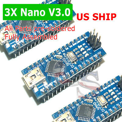 3X Fully Assembled Arduino Nano 3.0 ATmega328P Micro-Controller