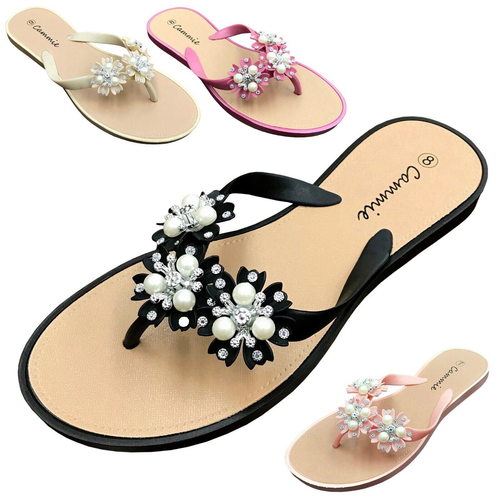 NEW Women's Flower Pearl Rhinestone Sandals Flat Jelly Thong