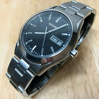Seiko 7N43-9070 Mens All Steel Silver Analog Quartz Watch Hours~Date~New Battery