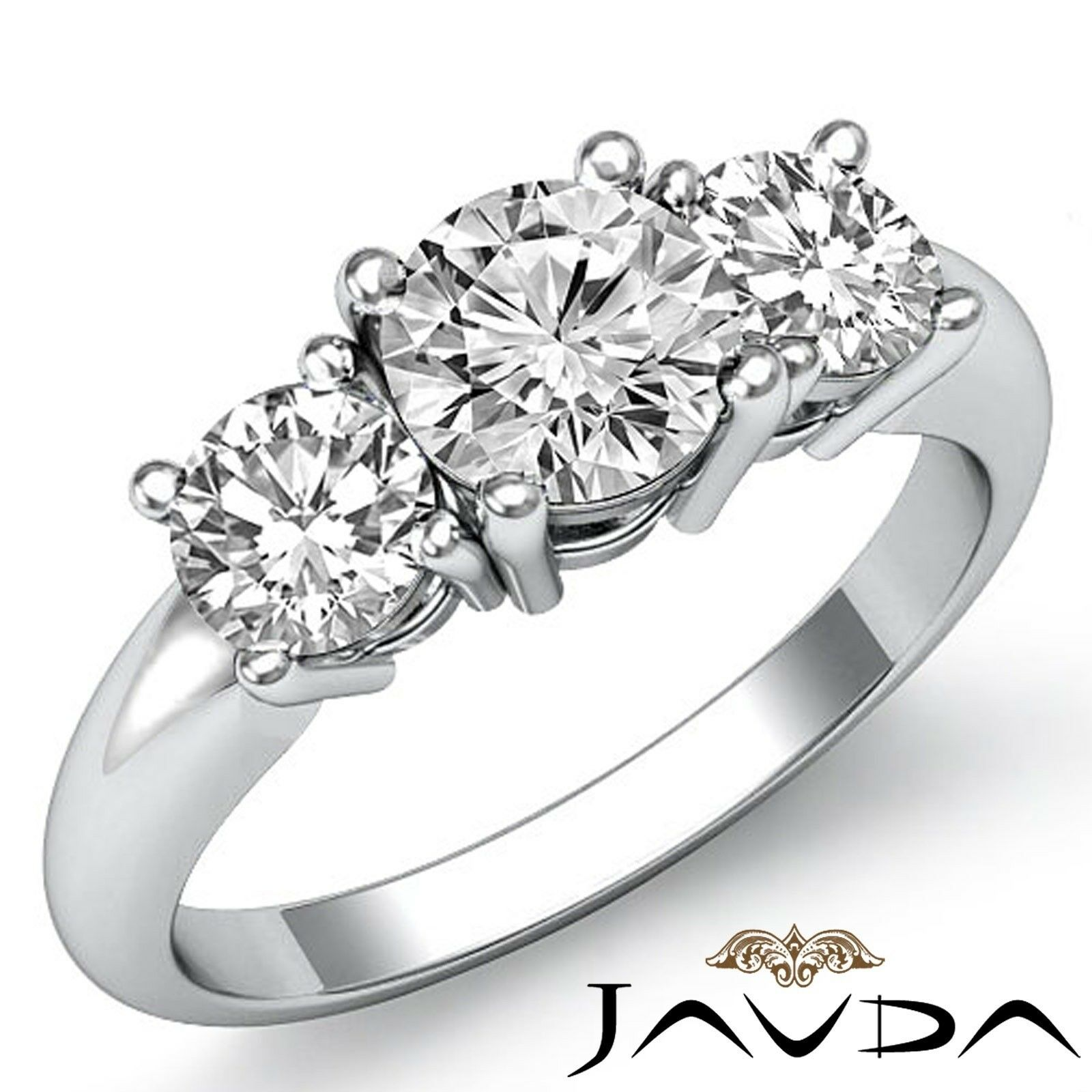 1.5ct Classic Three Stone Basket Round Diamond Engagement Ring GIA G-VVS2 W Gold