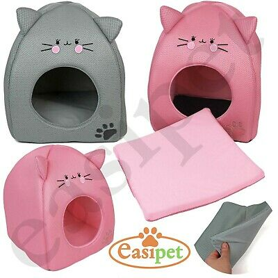 Cat Kitten Bed House Igloo Pet Dog Puppy Soft Comfort Cushion Hut Cave Nest