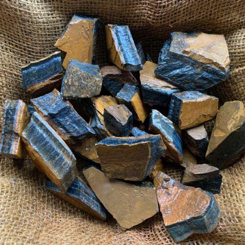 BLUE Tiger Eye Rough - 2000 Carat Lots + a FREE Faceted Gemstone!