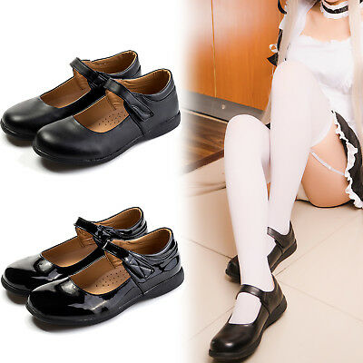 Japanese Maid Lolita Low Flat Heel Student Cosplay Shoes School Uniform Leather (Maid Shoes)