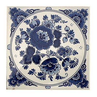 """Vintage Holland Handpainted Blue Ivory Floral Ceramic Tile 6"""" EX-794"""