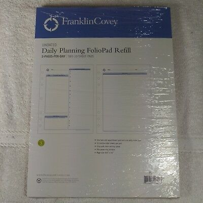 Franklin Covey Undated Daily Planning Foliopad Refill Size 8.5x11
