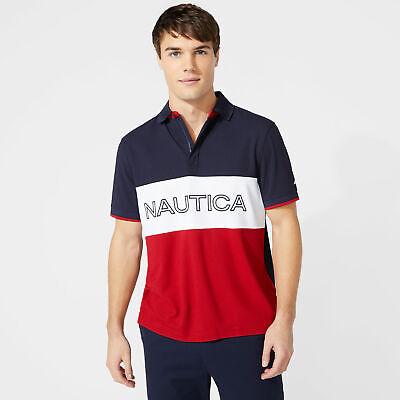 Nautica Mens Classic Fit Colorblock Logo Polo