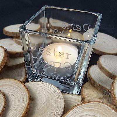 Personalisiertes Geschenk Vatertag Teelichtglas Windlicht Teelichthalter Gravur